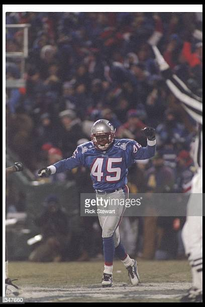 Defensive back Otis Smith of the New England Patriots looks on during a playoff game against the Jacksonville Jaguars at Foxboro Stadium in Foxboro...
