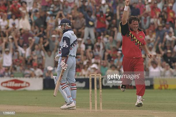 Eddo Brandes of Zimbabwe gets Nick Knight out first in his hat trick during the third one day international between Zimbabwe and England in Harare...