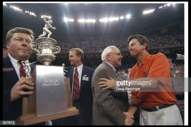 Florida Gators head coach Steve Spurrier celebrates after the Nokia Sugar Bowl against the Floirda State Seminoles at the Superdome in New Orleans...