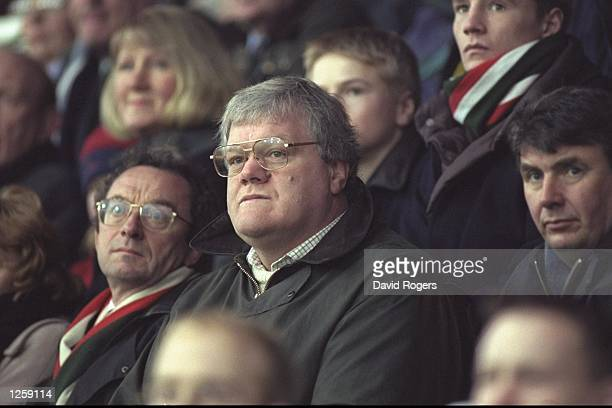 Fran Cotton the manager for the 1997 British Lions watches from the stands during the Courage league division one match between Northampton and...