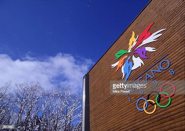 General view of a promotional advertising hoarding with the logo of Nagano, Japan, host of the 1998 Winter Olympics, taken during the World Cup...
