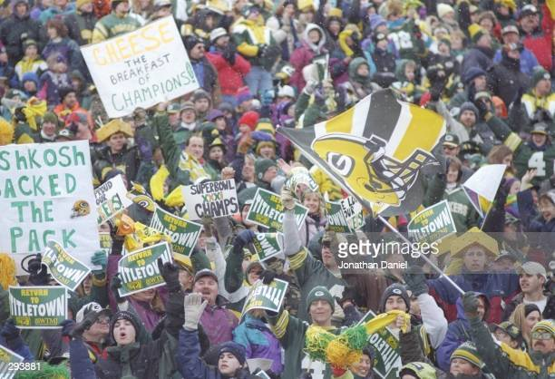 Green Bay Packers fans celebrate their returning team at Lambeau Field in Green Bay Wisconsin Mandatory Credit Jonathan Daniel /Allsport