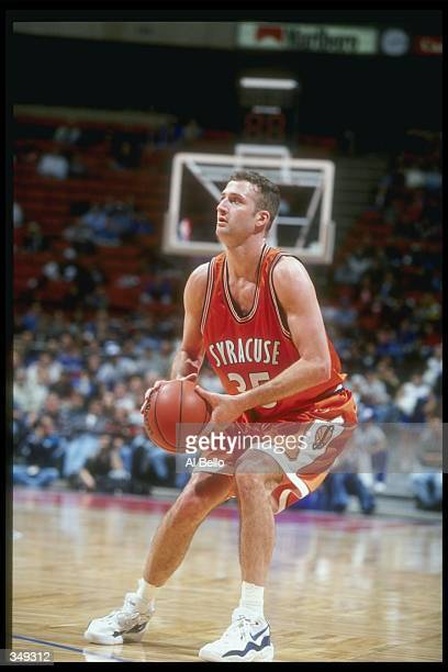 Guard Jason Cipolla of the Syracuse Orangemen looks to shoot the ball during a game against the Seton Hall Pirates at the Continental Airlines Arena...
