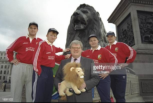 Jeremy Davidson Neil Jenkins team coach Fran Cotton Mark Reagan and Rob Wainright During the British Lions sponsorship launch at Trafalgar Square in...