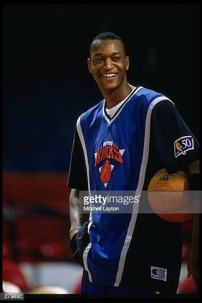 John Wallace of the New York Knicks looks on during the Knicks match against the Washington Bullets at the US Air Arena in Landover Maryland...