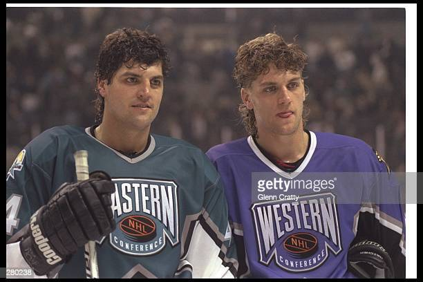 Kevin Hatcher of the Pittsburgh Penguins and Derian Hatcher of the Dallas Stars pose for a picture at the 47th NHL AllStar game at the San Jose Arena...