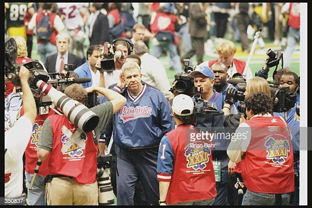 New England Patriots head coach Bill Parcells gets interviewed after Super Bowl XXXI against the Green Bay Packers at the Superdome in New Orleans...