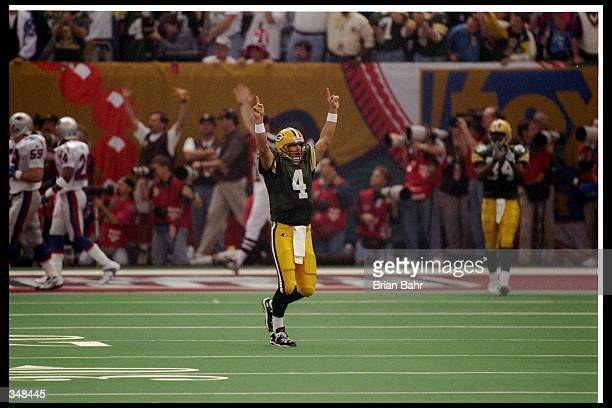 Quarterback Brett Favre of the Green Bay Packers celebrates during Super Bowl XXXI against the New England Patriots at the Superdome in New Orleans,...