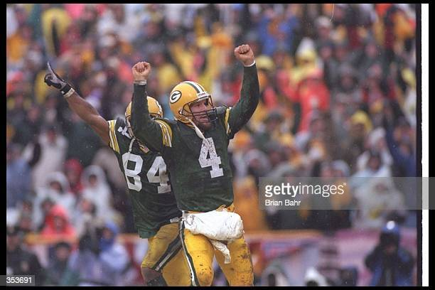 Quarterback Brett Favre of the Green Bay Packers celebrates during a playoff game against the San Francisco 49ers at Lambeau Field in Green Bay...