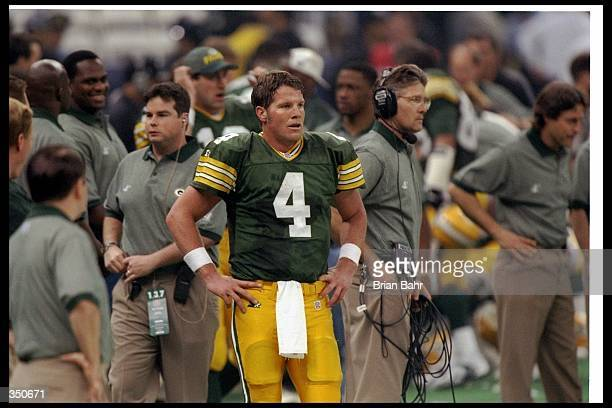Quarterback Brett Favre of the Green Bay Packers looks on during Super Bowl XXXI against the New England Patriots at the Superdome in New Orleans...