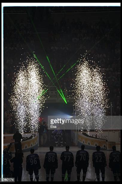 Spectacular light fountains flank the NHL Western AllStar team as introductions are made The 47th NHL AllStar game was played at the San Jose Arena...