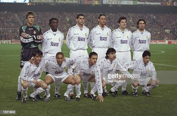 The Real Madrid team lineup before the Spanish cup match between Barcelona and Real Madrid at the Nou Camp Stadium in Barcelona Spain Barcelona won...