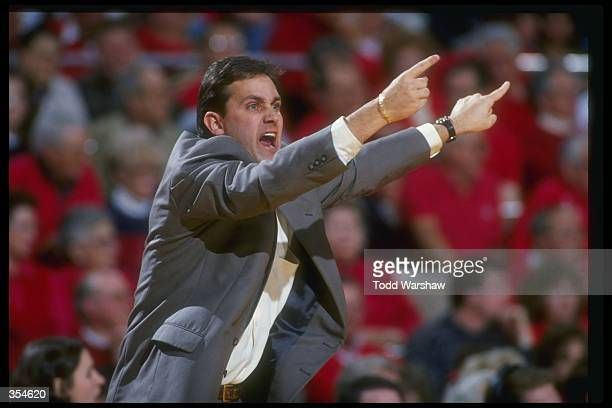 UNLV Rebels head coach Bill Bayno yells at his team during a game against the Fresno State Bulldogs at Selland Arena in Fresno California Fresno...