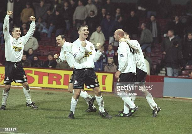 Wrexham celebrate after Kevin Russell's winning goal puts them through to the fifth round of the FA Cup After defeating West Ham United by 01 at...