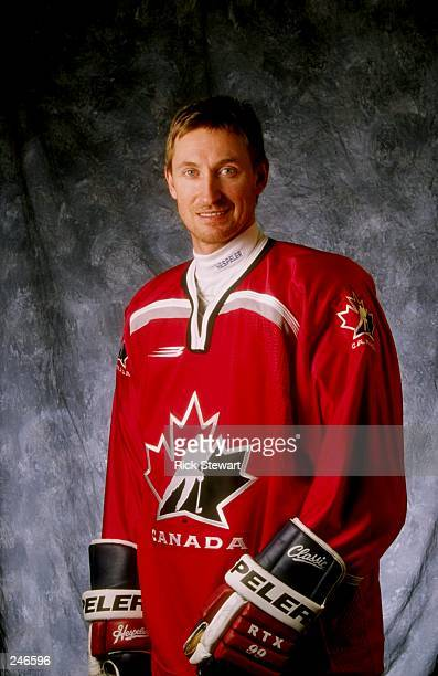 A head shot of Wayne Gretzky of Canada during the 1998 NHL AllStar Weekend at General Motors Palace in Vancouver Canada North America defeated team...
