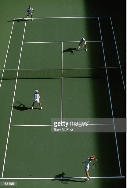 Aerial view of a Mens Doubles match during the Australian Open at Melbourne Park in Melbourne, Australia. \ Mandatory Credit: Gary M Prior/Allsport