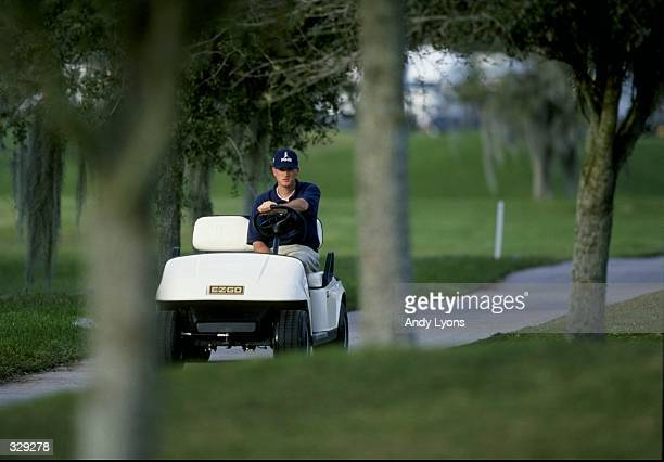 Casey Martin drives a golf cart during the Nike Town Lakeland Classic in Lakeland Florida Mandatory Credit Andy Lyons /Allsport