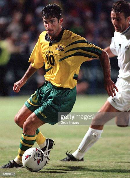 Craig Foster of the Australian Socceroos in action against New Zealand during the Optus World Soccer Series played at the Bob Jane Stadium Melbourne...