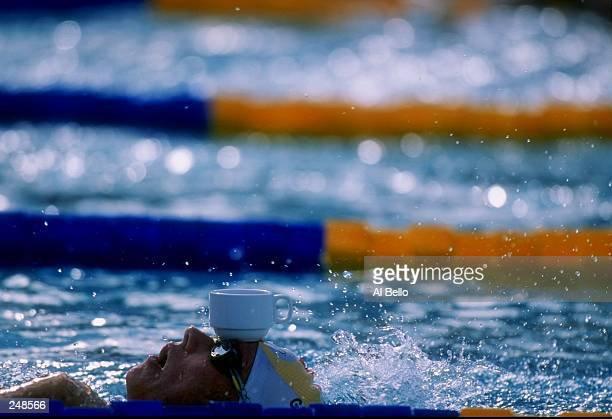 Dagmar Hase balances a cup on her head during the World Swimming Championships at Challenge Stadium in Perth Australia