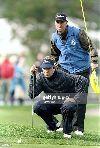 Davis Love III lines up a putt during the ATT National ProAm at Spyglass Golf Course in Pebble Beach California Mandatory Credit Harry How /Allsport