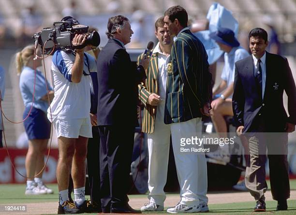 Former Australian test player Ian Chappell interviews the two captains Hansie Cronje of South Africa and Mark Taylor of Australia before the second...