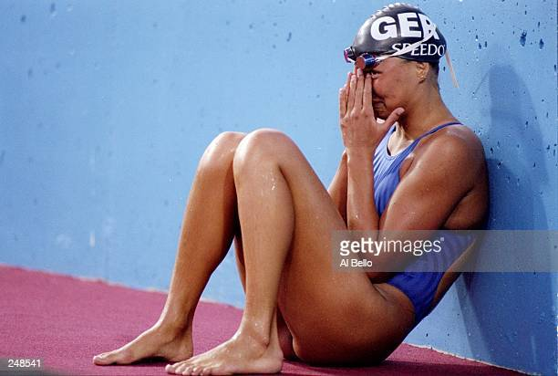 Franziska Van Almsick of Germany cries after having a slow leg in the women''s 4x200 freestyle relay during the World Swimming Championships in Perth...