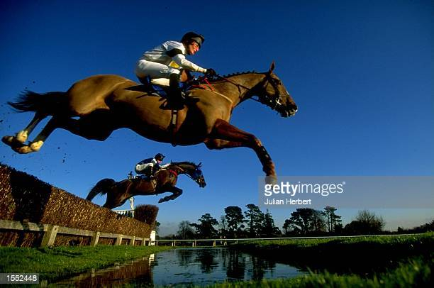 General view of a horse and rider at Fontwell Park in West Sussex England Mandatory Credit Julian Herbert /Allsport