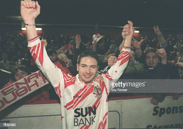 Giuliano Grazioli of Stevenage Borough acknowledges the crowd after the FA Cup fourth round tie against Newcastle United at Broadhall Way in...