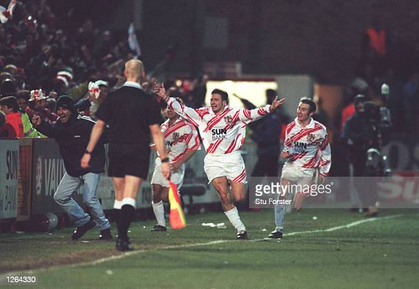 Giuliano Grazioli of Stevenage Borough celebrates his goal during the FA Cup fourth round tie against Newcastle United at Broadhall Way in Stevenage...