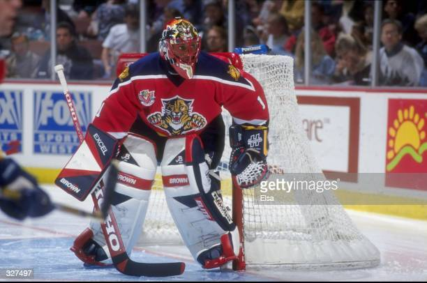 Goaltender Kevin Weekes of the Florida Panthers in action during a game against the Anaheim Mighty Ducks at Arrowhead Pond in Anaheim, California....