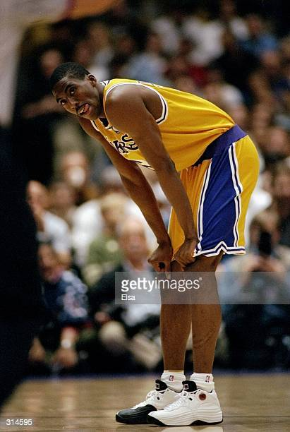 Guard Eddie Jones of the Los Angeles Lakers looks on during a game against the Orlando Magic at the Great Western Forum in Inglewood California The...