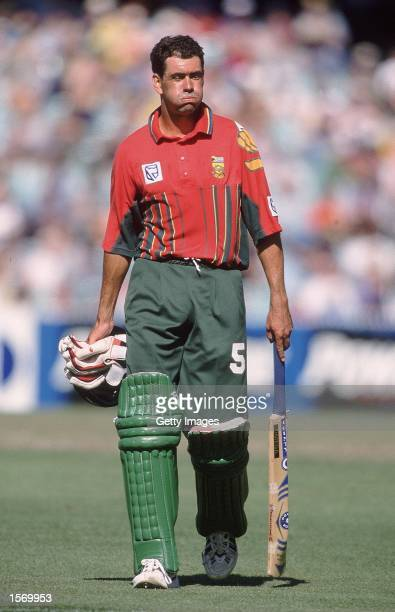 Hansie Cronje of South Africa shows his disappointment after getting out for 29 in the First Final of the Carlton and United Breweries OneDay...