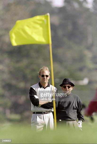 Kevin Costner with Joe Pesci during the ATT National ProAm at Pebble Beach Golf Course in Pebble Beach California Mandatory Credit Jamie Squire...