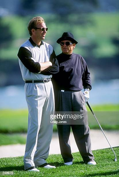 Kevin Costner with Joe Pesci during the ATT National ProAm at Pebble Beach Golf Course in Pebble Beach California Mandatory Credit Craig Jones...