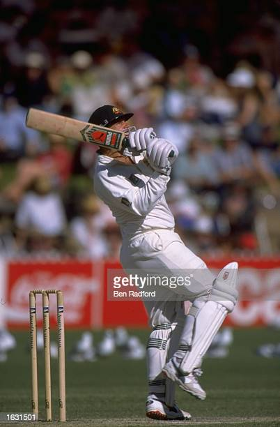 Mark Taylor of Australia makes a timely strike against the South African bowling in the third Test in Adelaide Australia Mandatory Credit Ben Radford...