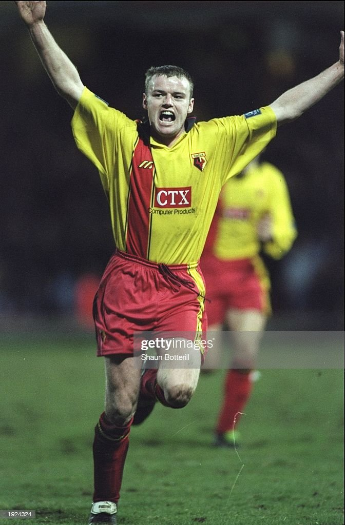 Peter Kennedy of Watford celebrates a goal during the FA Cup third round tie against Sheffield Wednesday at Vicarage Road in Watford, England. The match was drawn 1-1. \ Mandatory Credit: Shaun Botterill /Allsport