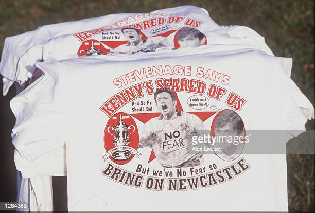 Stevenage Borough tshirts promoting their FA Cup tie against Premiership oposition Newcastle United during a feature at Broadhall Way in Stevenage...