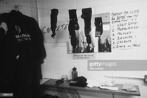 The Stevenage Borough dressing room during a feature at Broadhall Way in Stevenage England Mandatory Credit Alex Livesey/Allsport