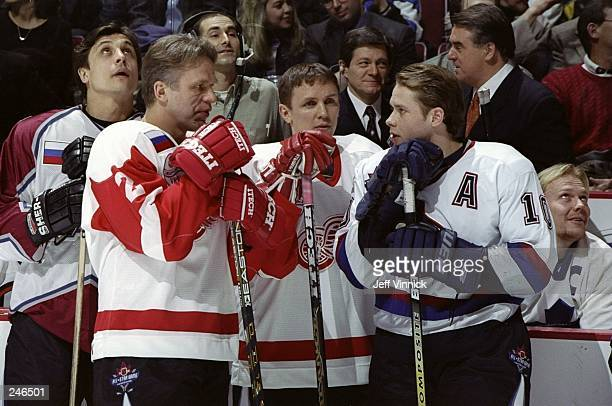 Viacheslav Fetisov and Igor Larionov talk during the skills competition during NHL AllStar Weekend at General Motors Palace in Vancouver Canada...
