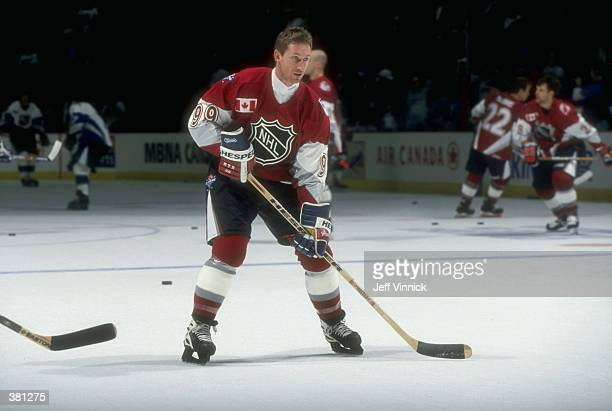 Wayne Gretzky of the North America Team in action during the NHL AllStar Game against the World Team at the General Motors Place in Vancouver Canada...