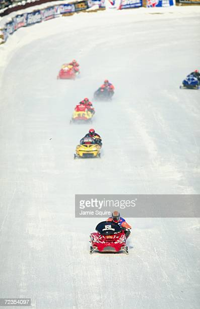 A general view of snowmobilers in action during the World Championship Snowmobile Derby in Eagle River Wisconsin Mandatory Credit Jamie Squire...
