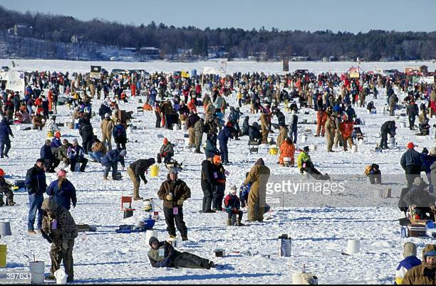 A general view of the action going on at the Brainerd Jaycees $100000 Ice Fishing extravaganza at the Hole in the Day Bay of Gull Lake in Brainerd...