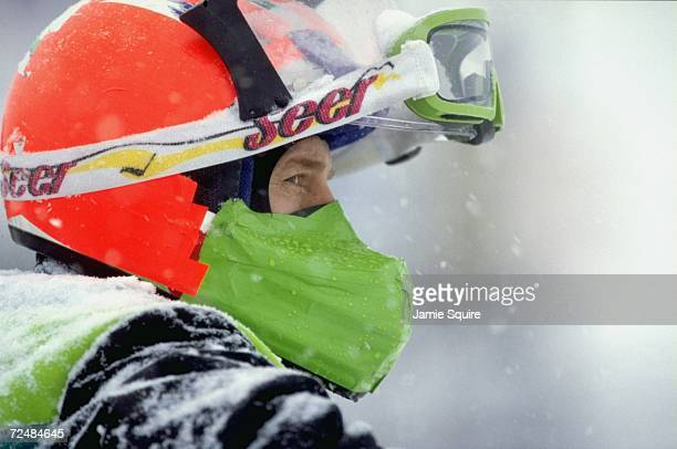 A portrait of a snowmobiler in action during the World Championship Snowmobile Derby in Eagle River Wisconsin Mandatory Credit Jamie Squire /Allsport