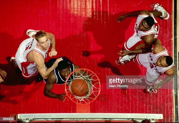 An overhead view of Michael Wright of the Arizona Wildcats as he makes a basket during the game against the New Mexico Lobos at The Pit in...