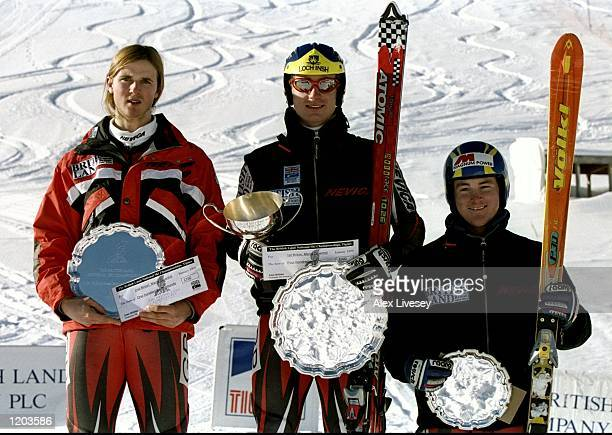 Andrew Freshwater John MoulderBrown and Ross Green after the Mens Downhill event at the British Land National Ski Championships in Tignes France...