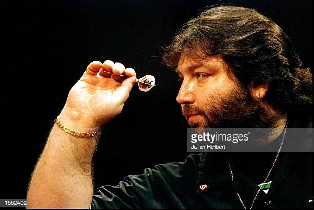 Andy Fordham of England in action during the Embassy World Darts Championships in Frimley England Mandatory Credit Julian Herbert /Allsport