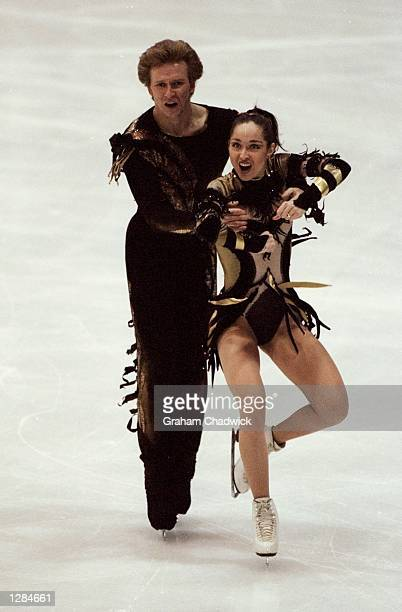 Anjelika Kriova and Oleg Orsyannkov of Russia in action during the 1999 European Skating Championships in Prague Czech Republic The pair won gold...