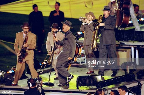 Big Bad Voodoo Daddy performing during the half time special of the Super Bowl XXXIII Game between the Denver Broncos and the Atlanta Falcons at the...