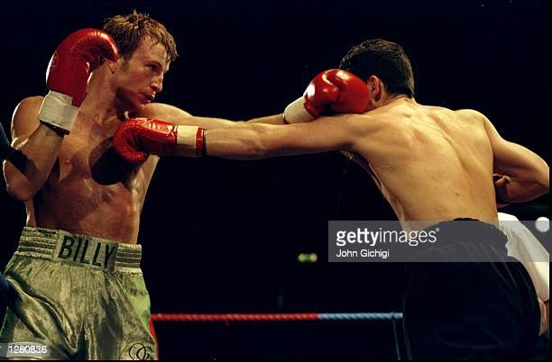 Billy Schwer of Great Britain and Zoltan Kalocsai of Hungary in action during the European Lightweight Championships bout at Bethnal Green in London...