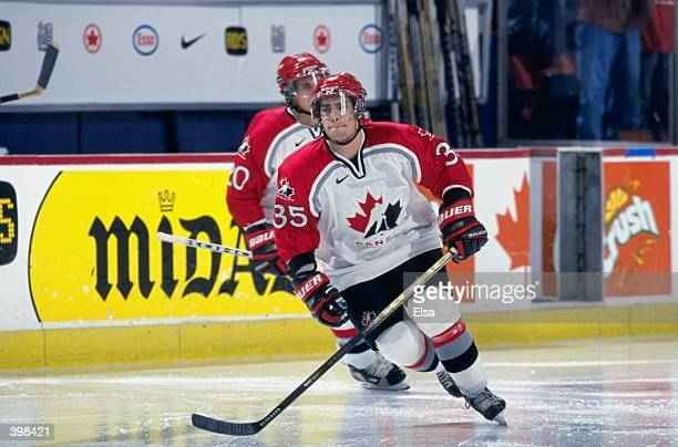 Brad Leeb of Team Canada in action during the World Junior Hockey Championships Game against Team Russia at the Winnepeg Arena in Winnepeg Manitoba...